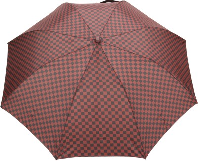 FabSeasons Checkered Print Umbrella(Maroon)