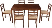 Woodness Solid Wood 6 Seater Dining Set(Finish Color - Wenge)