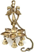 Aakrati Hanging Peacock Oil Lamp with Hanging Bells Brass Hanging Diya(Height: 28 inch)