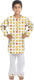 Oranges & Lemons Kids Nightwear Boys Printed Cotton(White Pack of 1)