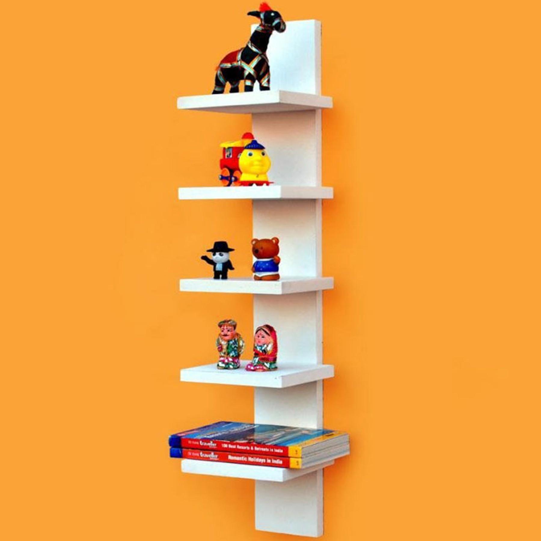 View Woodenartisan Wooden Wall Shelf(Number of Shelves - 1, White) Furniture (Woodenartisan)