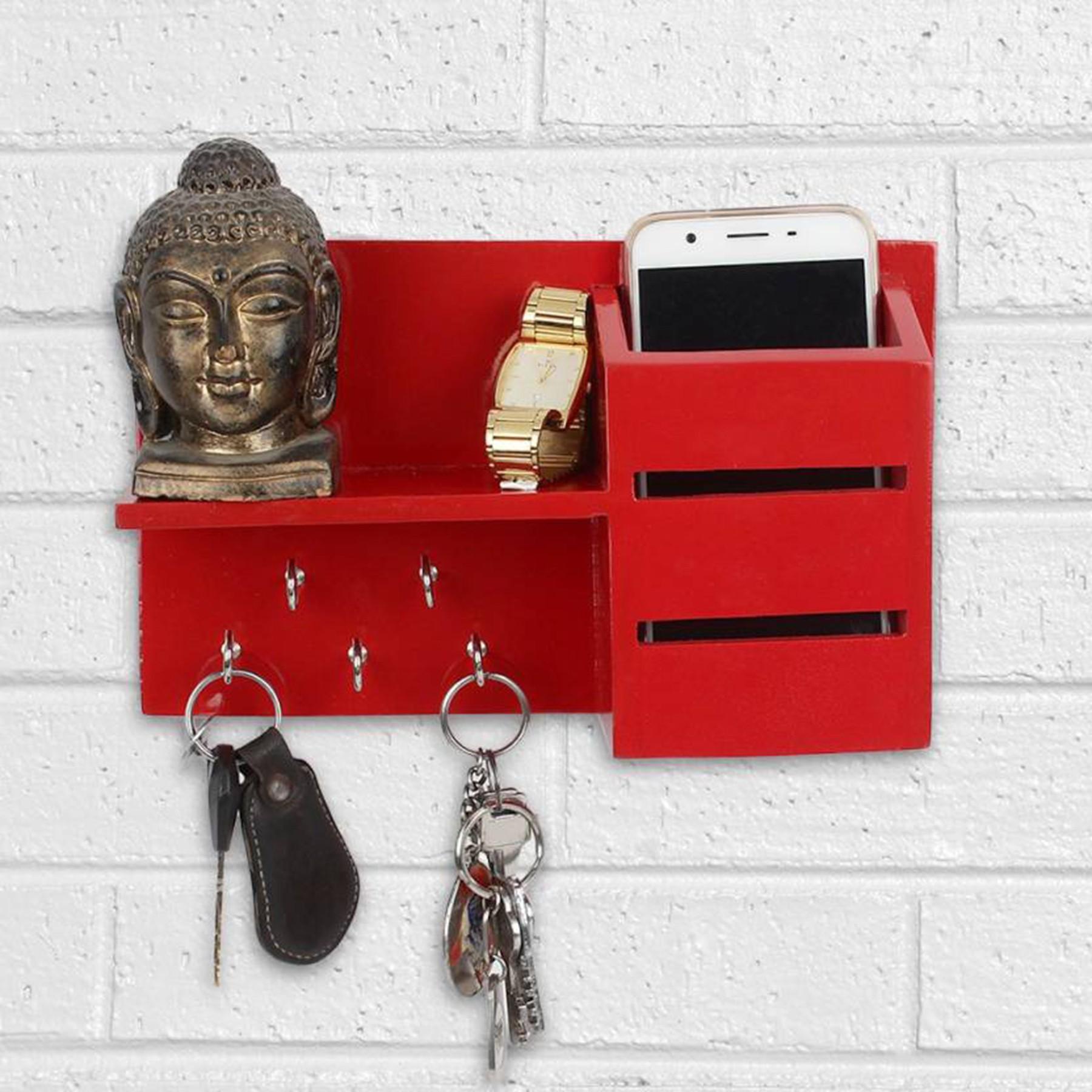 View Woodenartisan Wooden Wall Shelf(Number of Shelves - 1, Red) Furniture (Woodenartisan)