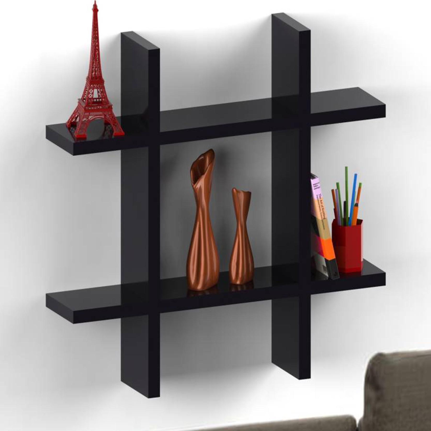 View Woodenartisan Wooden Wall Shelf(Number of Shelves - 1, Black) Furniture (Woodenartisan)