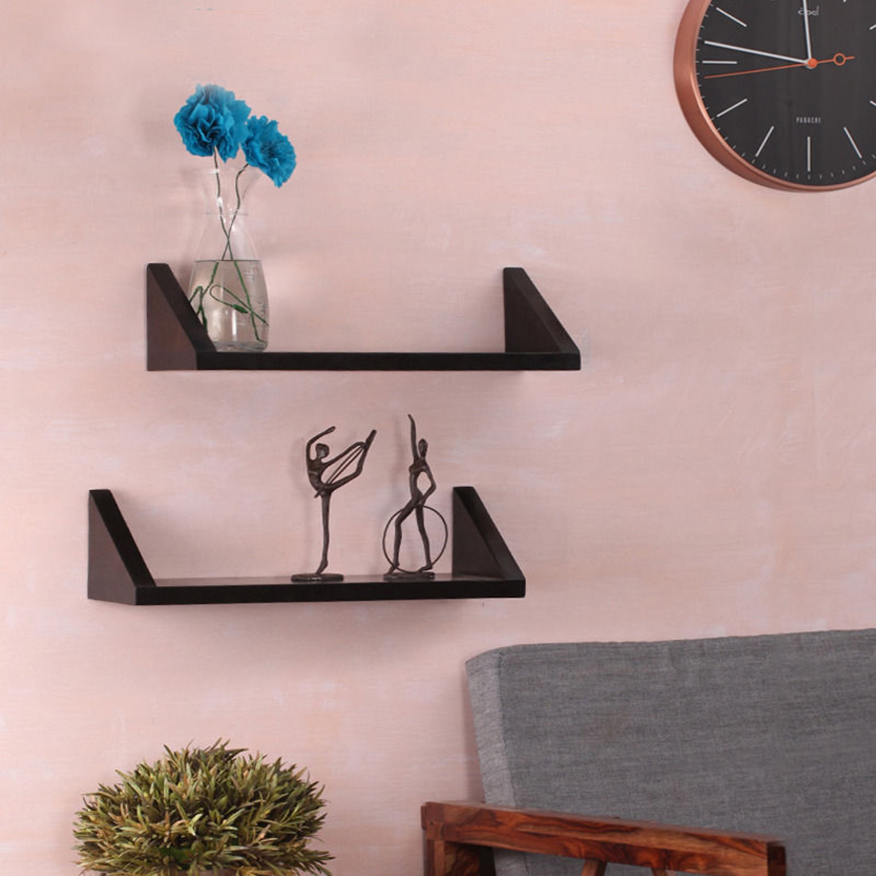 View Woodenartisan Wooden Wall Shelf(Number of Shelves - 2, Black) Furniture (Woodenartisan)