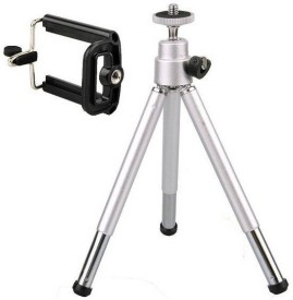 Sukot Universal Mobile Phone tripod kit with With Mobile Attachment Selfie Holder Tripod Kit(Silver + Black, Supports Up to 250 g)