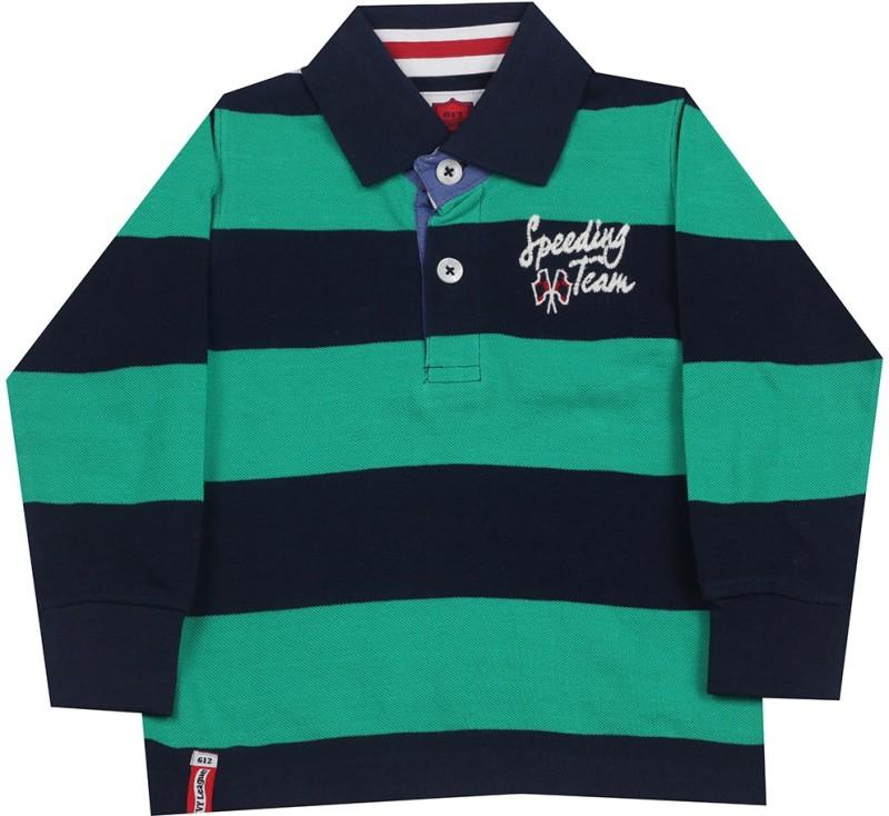 612 League Boys Striped Cotton T Shirt(Blue, Pack of 1)