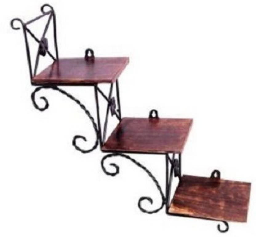 View Huzain Handicrafts Wooden, Cast Iron Wall Shelf(Number of Shelves - 3) Furniture (huzain handicrafts)