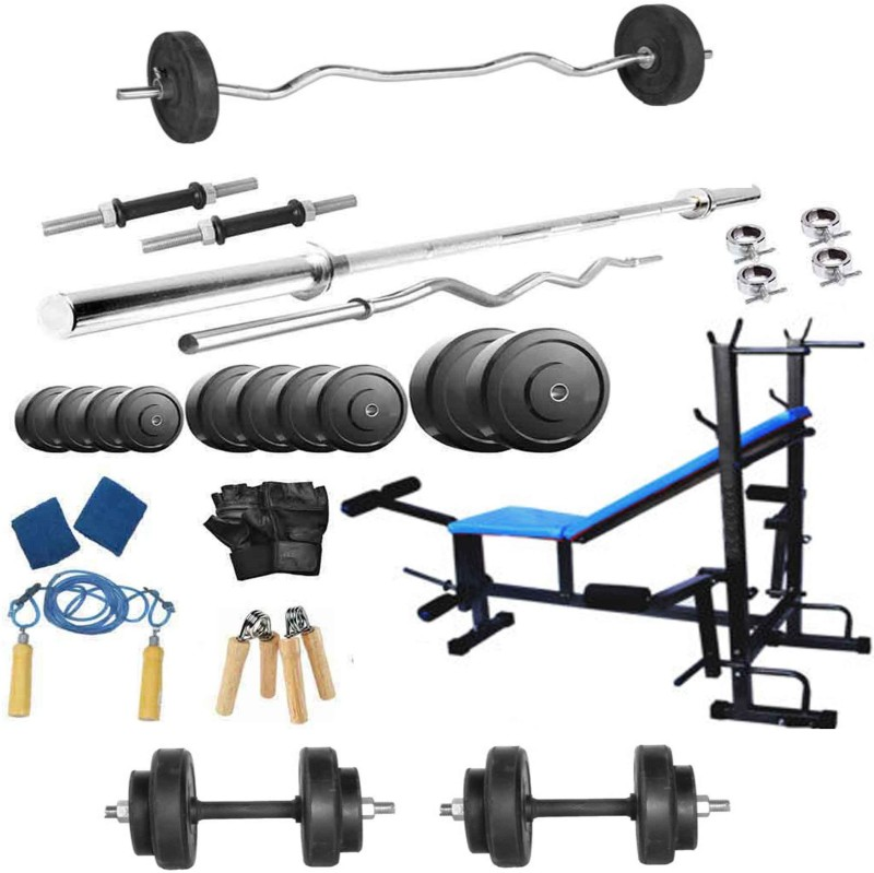 Protoner 50 kg with 8 in 1 Bench home Gym(Multicolor)
