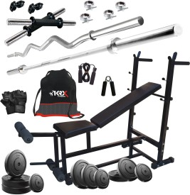 KRX 75 KG COMBO 25 WITH 6 IN 1 MULTIPURPOSE BENCH, Gym & Fitness Kit