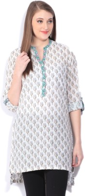 Biba Printed Women's Straight Kurta(White, Light Blue, Green) at flipkart