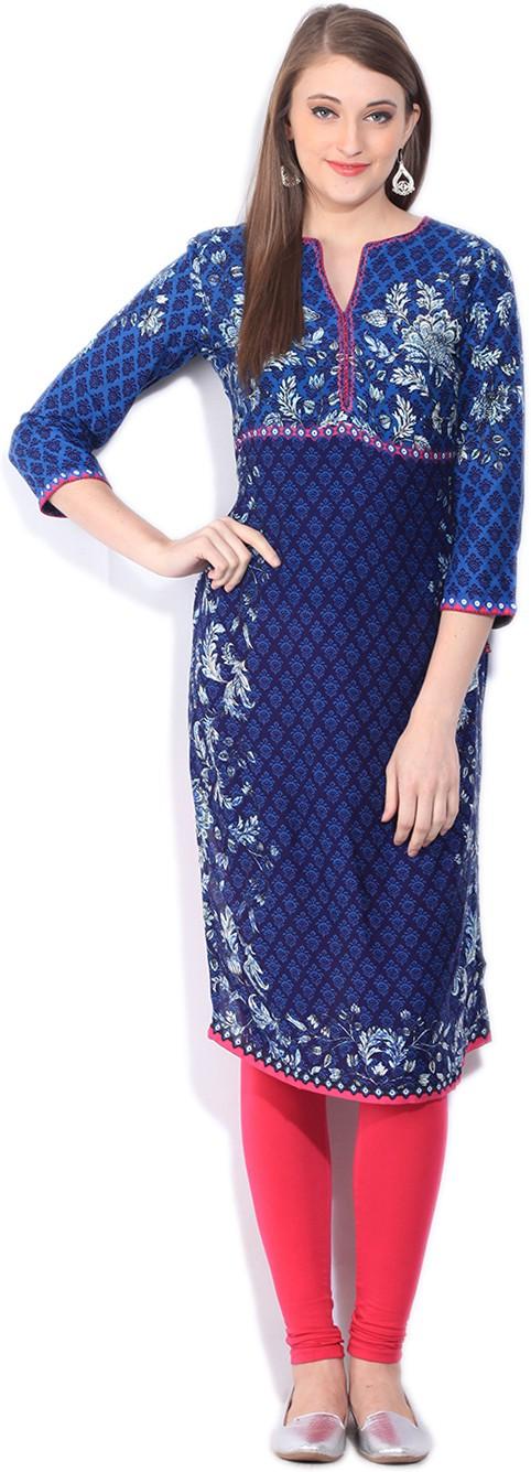Biba Printed Women's Straight Kurta(Blue)