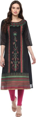 INDIMANIA Self Design Women's Straight Kurta(Black) at flipkart