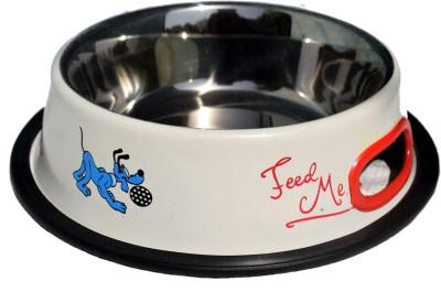 Petshop7 White 950 ML Medium Dog Round Stainless Steel Pet Bowl & Bottle(950 L Blue)