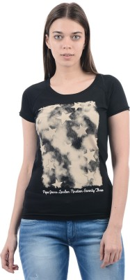 Pepe Jeans Printed Women's Round Neck Black T-Shirt at flipkart