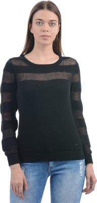 Pepe Jeans Solid Women's Round Neck Black T-Shirt at flipkart