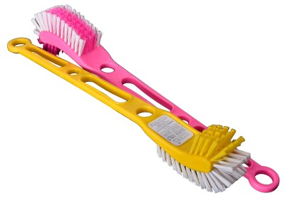 Mega Super Bold Toilet Brush(Yellow, Pink)