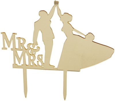Flour Butter Chocolate Acrylic Topper - Mr & Mrs Gold - FBC0044 Cake Topper(Gold Pack of 1)
