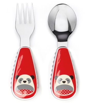 Skip Hop Baby Zoo Little Kid and Toddler Fork and Spoon Utensil Set, Multi Pia Panda - Melamine & Stainless steel(Multicolor)
