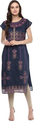 INDIMANIA Self Design Women's Straight Kurta(Blue) at flipkart