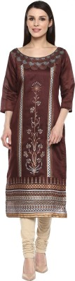 INDIMANIA Self Design Women's Straight Kurta(Maroon) at flipkart
