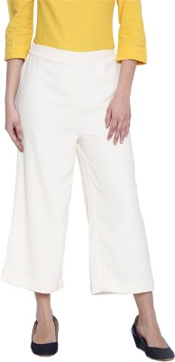 Rooliums Regular Fit Womens White Trousers