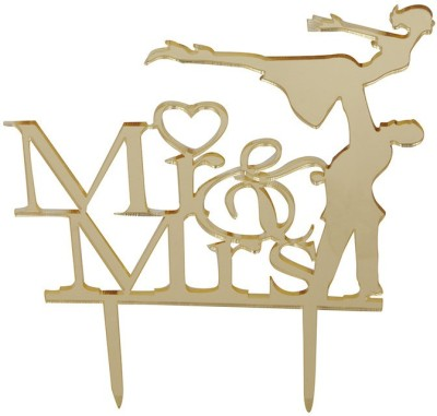 Flour Butter Chocolate Acrylic Topper - Mr & Mrs Gold - FBC0045 Cake Topper(Gold Pack of 1)