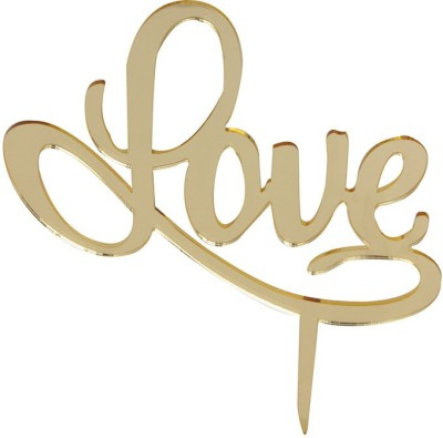 Flour Butter Chocolate Acrylic Topper - Love Gold - FBC0049 Cake Topper(Gold Pack of 1)