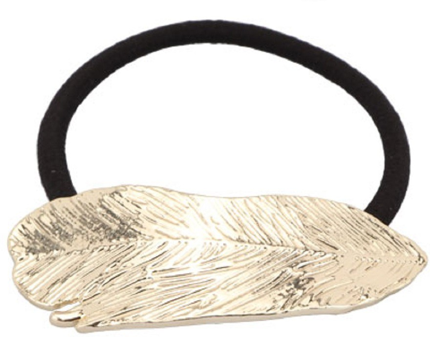 Missy Metallic Leaf Shaped Rubber Band(Gold)