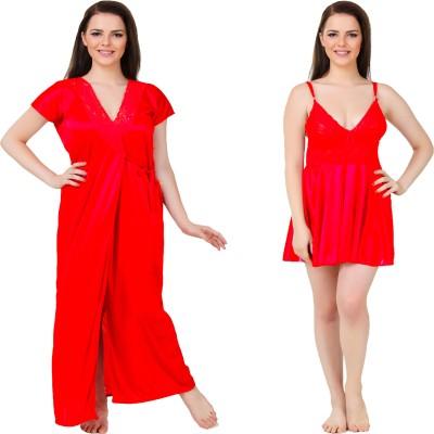 Bombshell Women's Nighty with Robe(Red) at flipkart