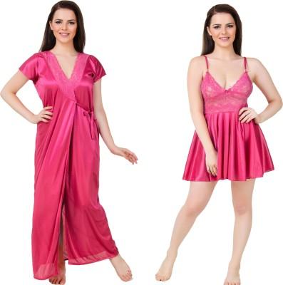 Bombshell Women's Nighty with Robe(Pink) at flipkart