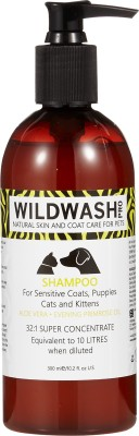 WILDWASH for Sensitive Coats, Puppies, Cats or Kittens Anti-microbial, Hypoallergenic, Anti-itching, Allergy Relief, Anti-fungal, All Purpose Fragrance Free Dog Shampoo(300 ml)