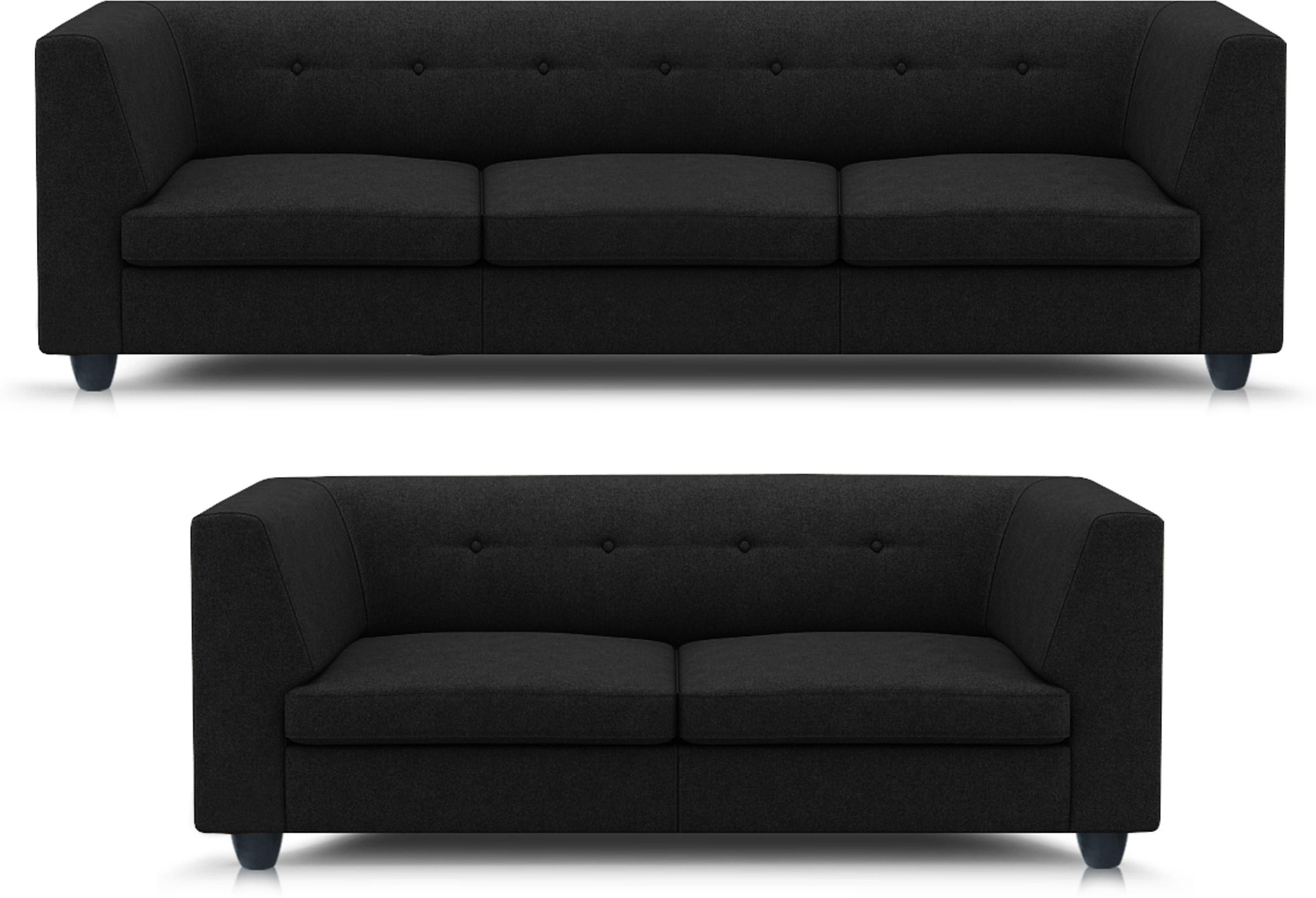View Adorn homez Modern Solid Wood 3 + 2 Black Sofa Set Furniture (Adorn homez)