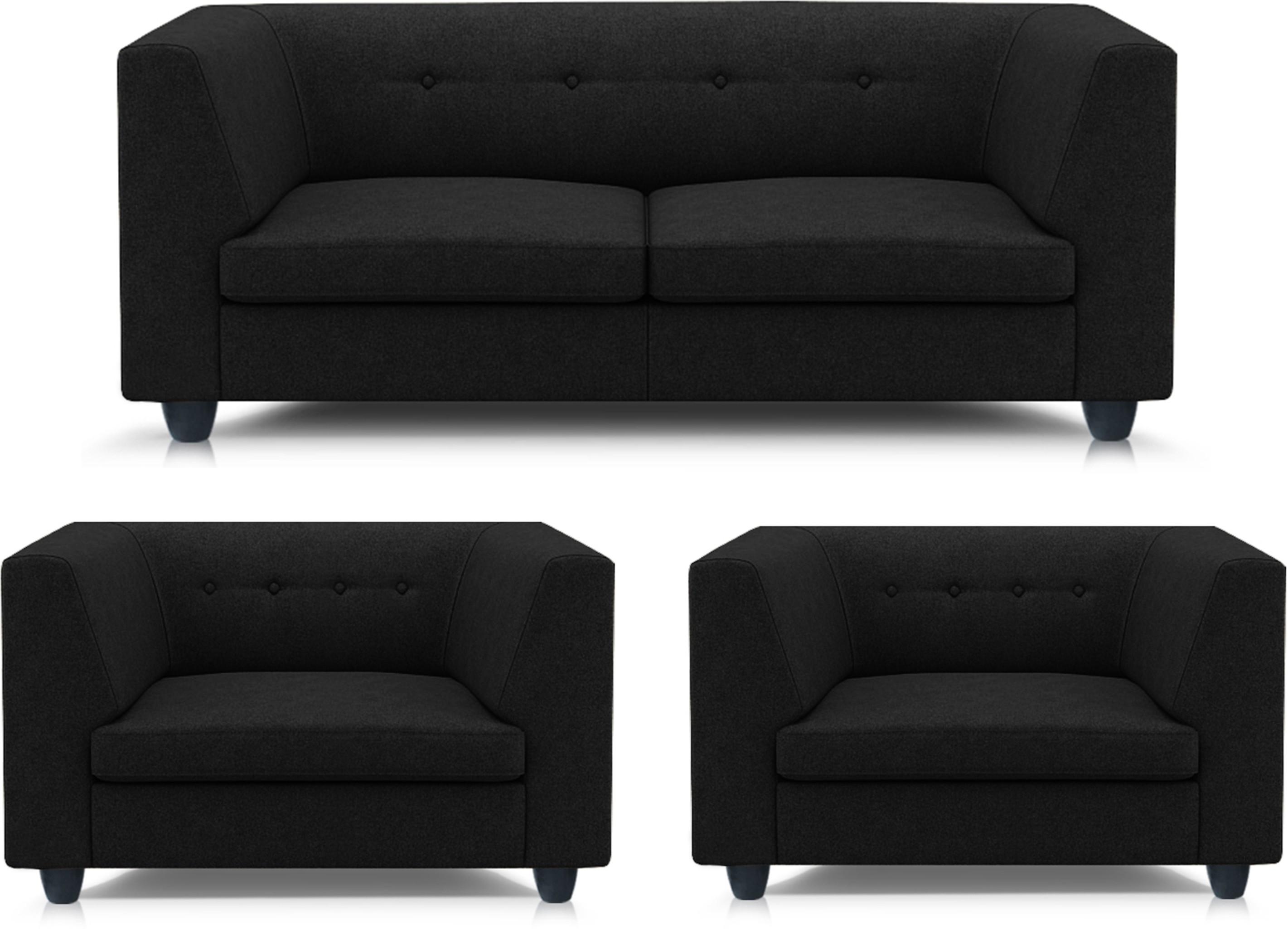 View Adorn homez Modern Solid Wood 2 + 1 + 1 Black Sofa Set Furniture (Adorn homez)