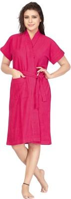 Be You Dark Rani pink Free Size Bath Robe(1 Bath robe, For: Women, Dark Rani pink)