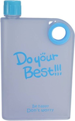 Skywalk 1 Pc Flat Reusable BPA-Free Portable Notebook style, DO YOUR BEST (Blue, Grey) 380 ml Bottle(Pack of 1, Blue)