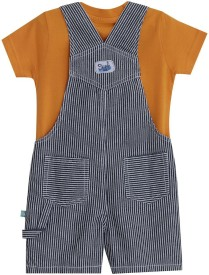 MINI KLUB Dungaree For Boys Printed Cotton(Blue, Pack of 2)