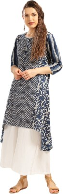 Anouk Printed Women's A-line Kurta(Dark Blue, Beige) at flipkart