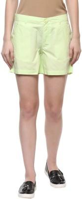 Honey By Pantaloons Solid Women's Yellow Basic Shorts at flipkart