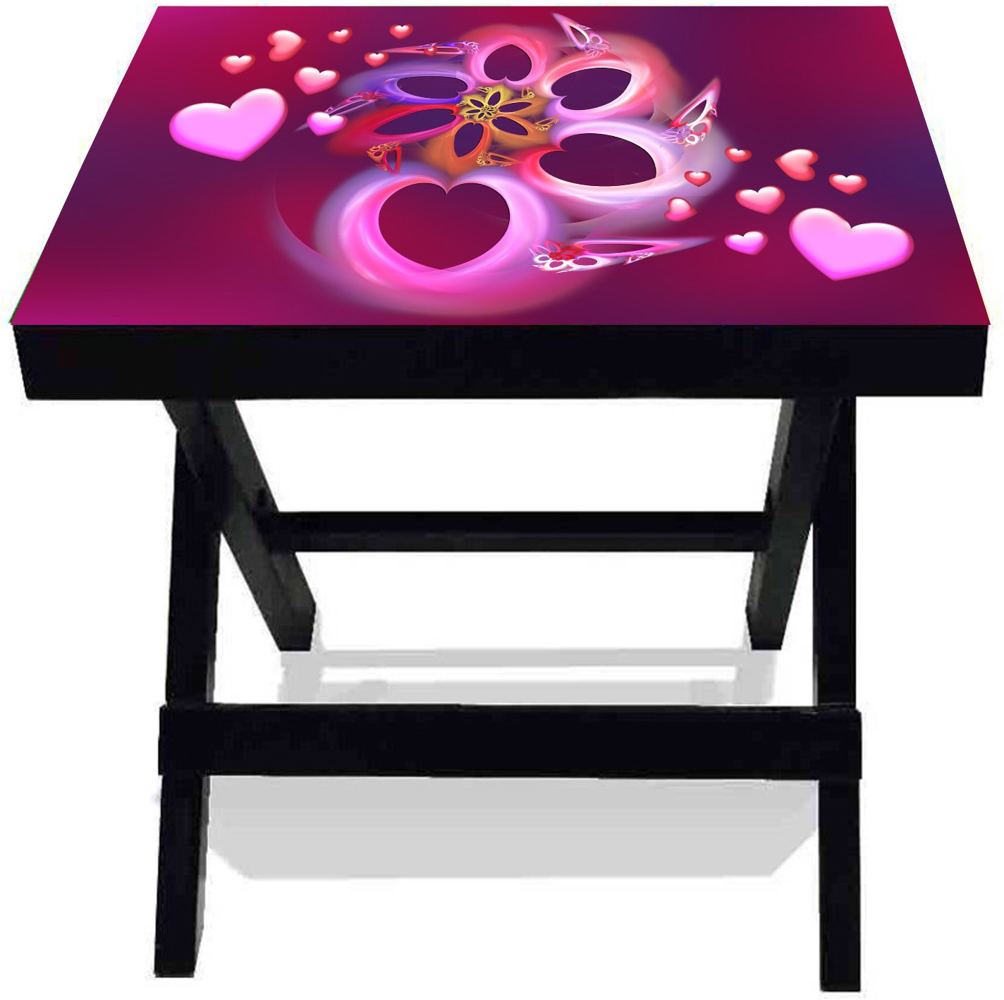 View Netwood Designer Beautiful Hearts Solid Wood Side Table(Finish Color - Black) Furniture (Netwood Designer)