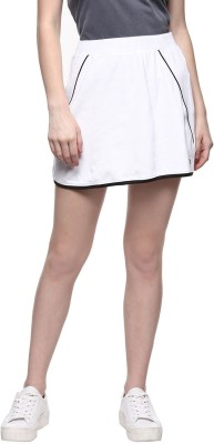 Ajile by Pantaloons Solid Women's Straight White Skirt at flipkart