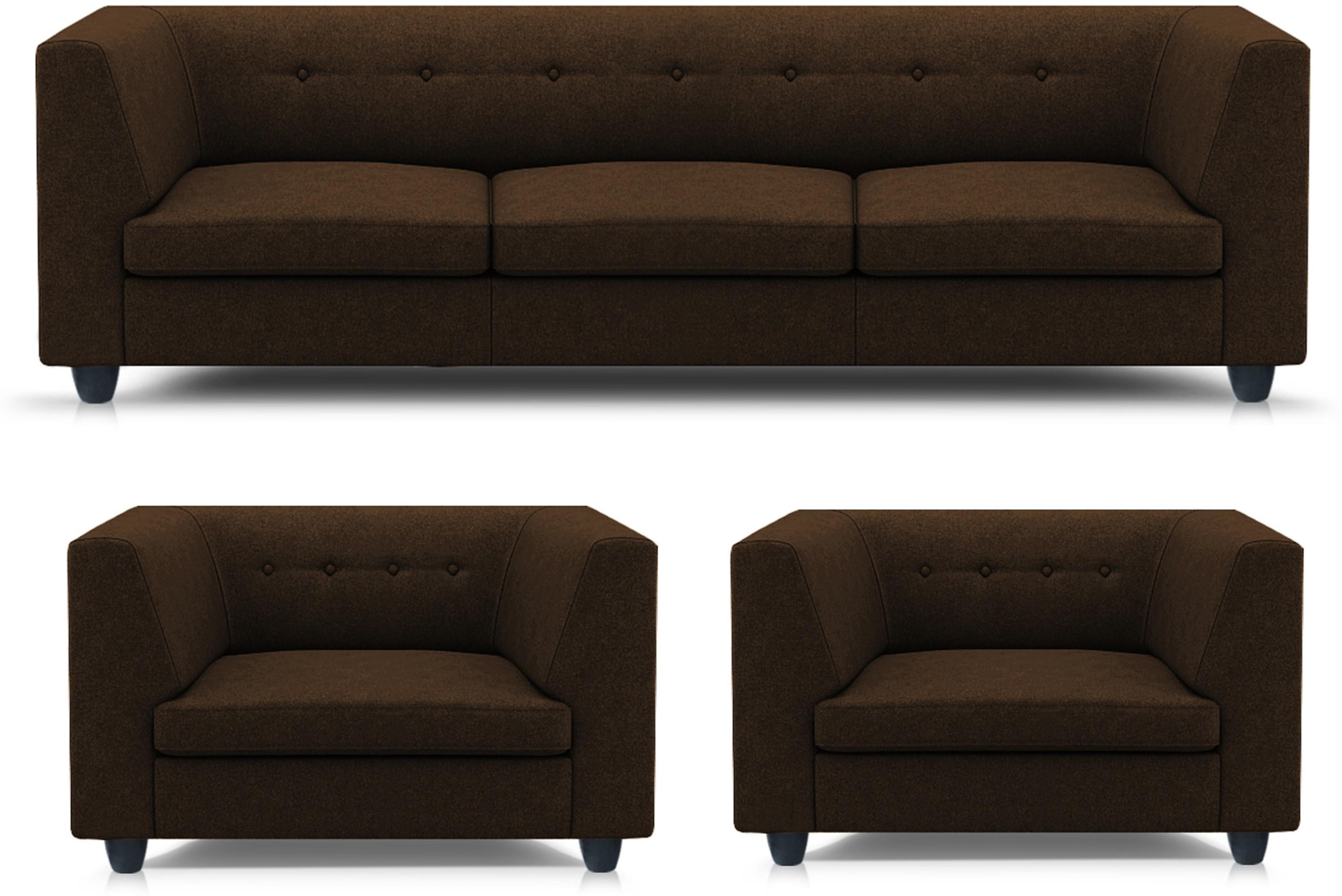 Adorn homez modern solid wood 3 1 1 brown sofa set