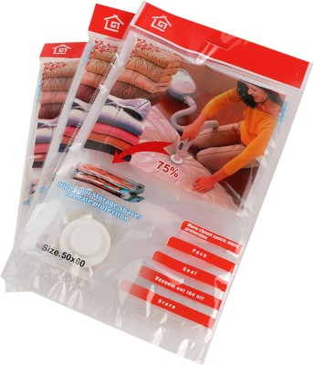 TG PACK OF 3 (50cms X 60 Cms) Transparent Travel Storage Vaccum Bags(Pack of 3)