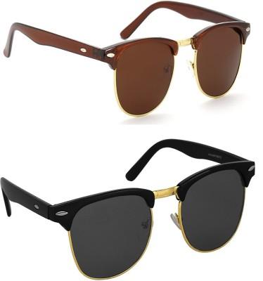 Hupshy CMBBLKBRWN02 Wayfarer Sunglasses(Black, Brown)