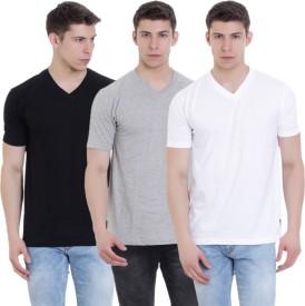 FAB69 Solid Men's V-neck Black, Grey, White T-Shirt(Pack of 3)