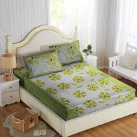Optimistic Home Furnishing Cotton Floral Double Bedsheet(1 Double Bedsheet, 2 Pillow Covers, Green)
