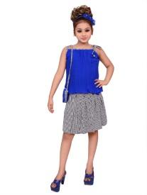 gungun pari Girls Party(Festive) Top Skirt(Multicolor)