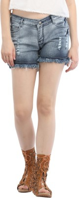 Cali Republic Self Design Women's Blue Denim Shorts at flipkart