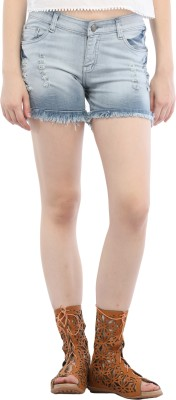 Cali Republic Self Design Women's Grey Denim Shorts at flipkart