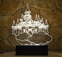 optinox 3D Castle Table Night Lamp(19 cm, Warm White)