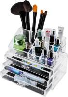 Kaanchi House 16 Slot plus 3 Drawers Cosmetic Arrangement Box Organizer Makeup, Jewellery, MultiPurpose Vanity Box(Transparent)